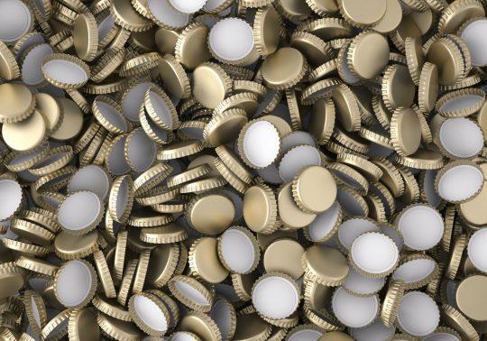 stack of bottle caps background , 3d render