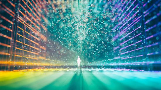 Abstract multicolored grid and a glowing figure surrounded by particles in the center