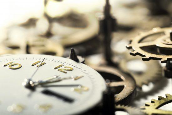 Clock gears in motion